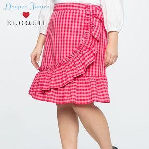 Draper James Eloquii Gingham Plaid Ruffle Skirt